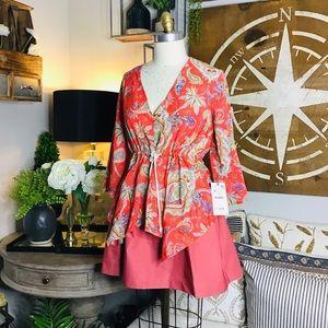 Zara women's red blouse Sz medium NWT
